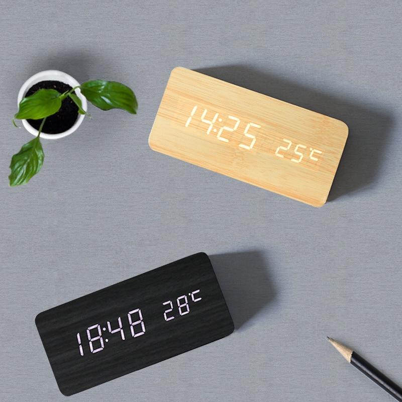 USB/AAA Alarm Clock LED Wooden Bedroom Table Clock Voice Control Digital Wood Clock Electronics Clock Cute Clock Desk Decoration