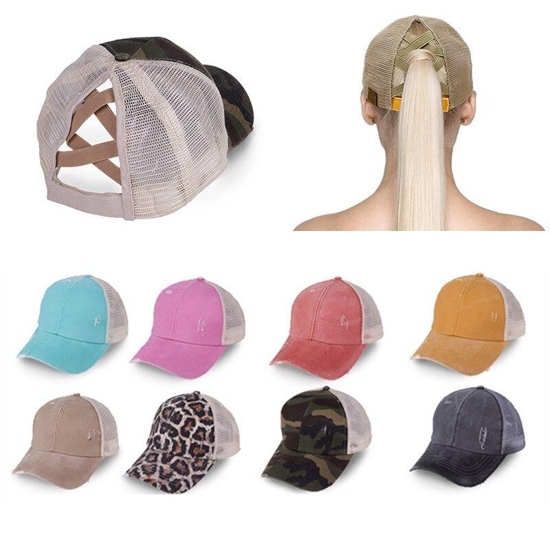 Cola de Caballo, gorra de béisbol, gorros cruzados de verano para mujeres y niñas, sombreros ajustables para tenis y Golf, gorras deportivas informales para correr