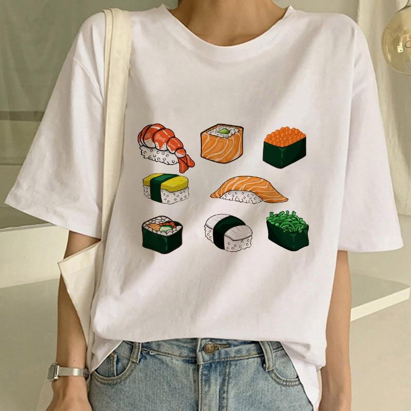 Женские летние футболки с рисунком японских суши, женские футболки с принтом, футболка, Женская Удобная футболка с графическим рисунком