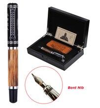 Duke classique Confucius naturel bambou métal motif gaufré plume courbée calligraphie stylo à plume Iridium 1.2mm pour bureau/cadeau