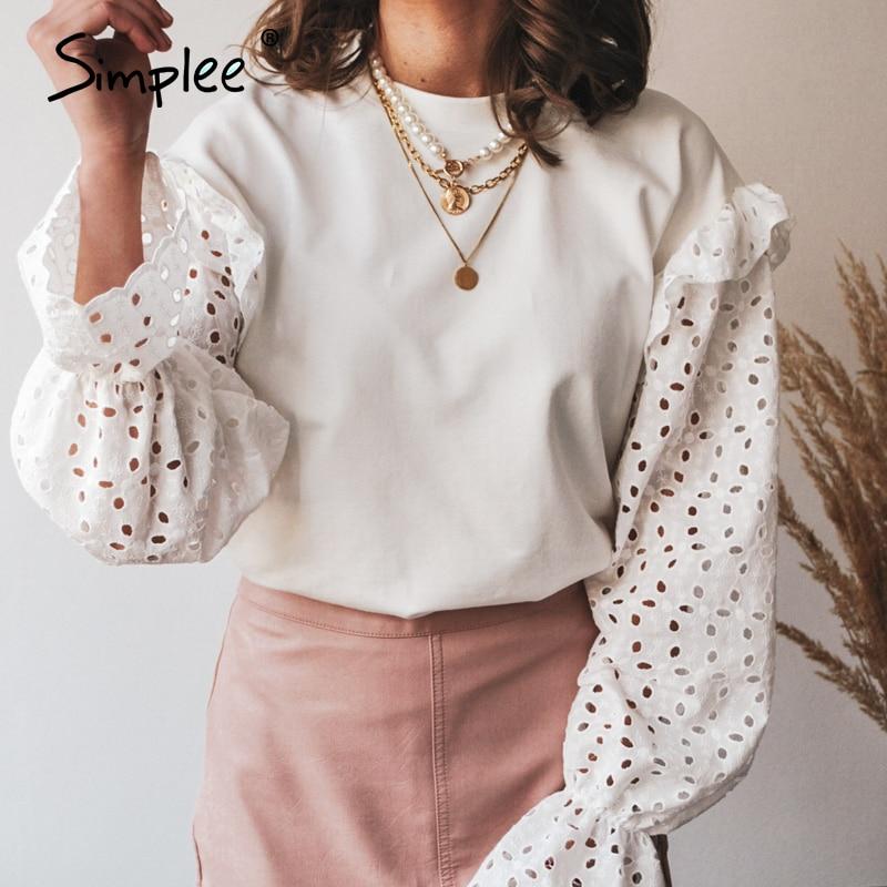 Simplee Sólidos malha mulheres blusa trabalho Moda teste padrão de flor oco pulôver de manga longa em torno do pescoço Casuais senhoras blusa casa