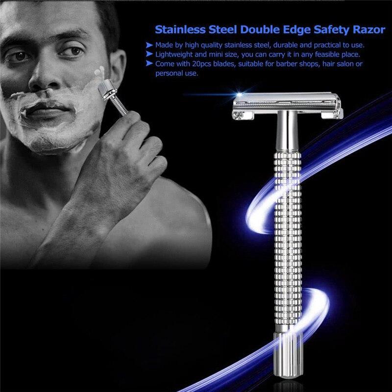Lâminas de barbear rosto de barbear masculino máquina de barbear segurança dupla borda navalha para homens barbeiro direto navalha facas de barbear presentes