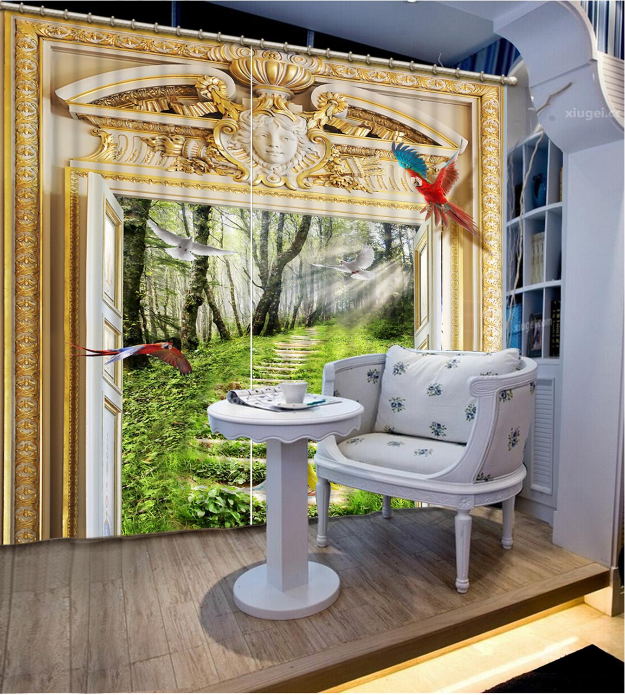 3Dドア窓のカーテンヒル道路ドアの外にリビングルームのベッドルーム装飾キッチンカーテン · ヴァランスブラックアウト