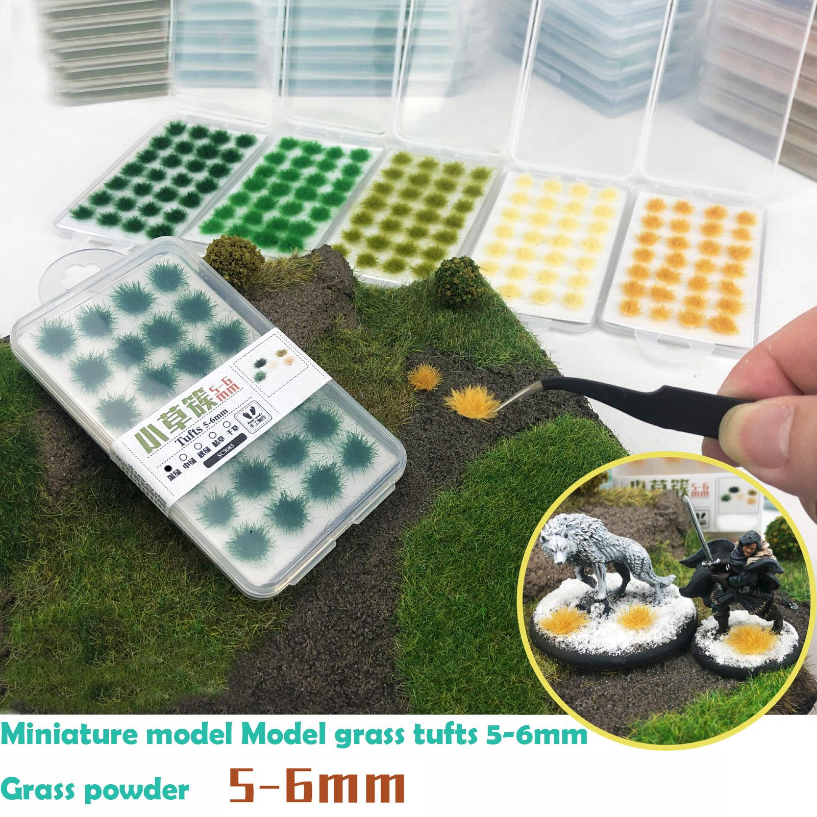 Modelo en miniatura de cañas de césped, 5-6mm, polvo de hierba, modelo pequeño de pajas, mesa de arena, materiales de simulación de escenario