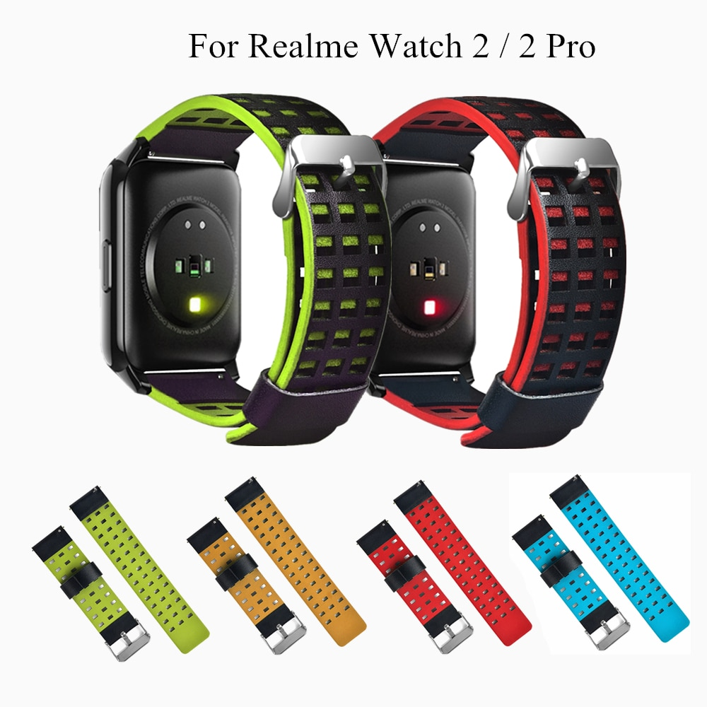 Leather Realme Watch 2/2 Pro Strap Bracelet Sports Breathable Watchbands PU Leather Wristband Men Wo