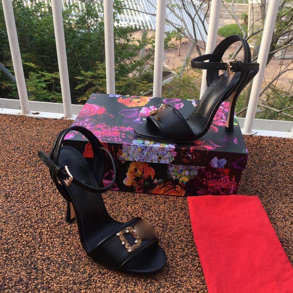 Nuevo vestido de boda zapatos de tacón alto de cristal para mujer zapatos de diseño de hebilla para mujer adornado Chic de talla grande, con adorno de bloqueo