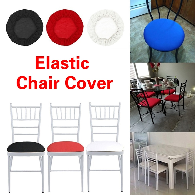Capa de cadeira redonda elástica elastano acolchoado cor sólida slipcovers jantar assento capa para cadeira alta com costas