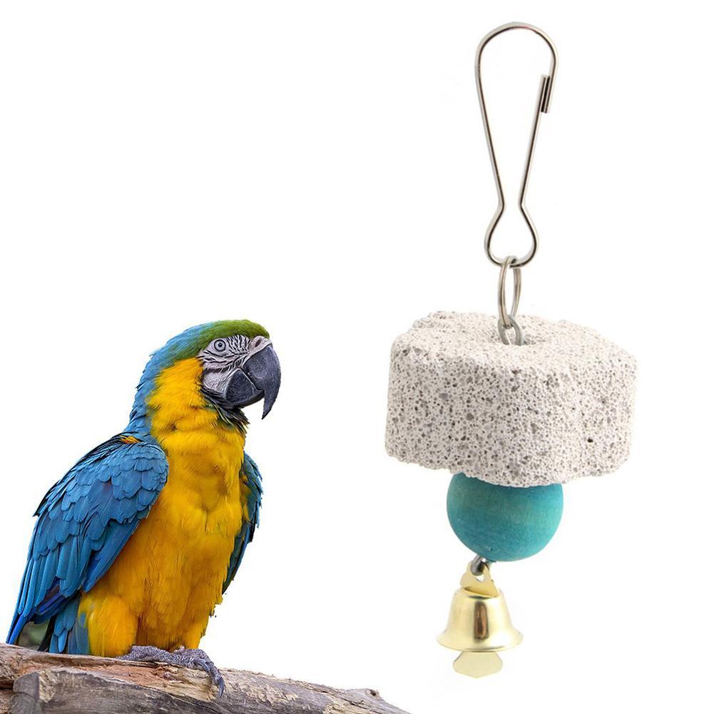 Jaula Molar de piedra de campana Mineral para afilar loros, decoración colgante para loros, piedra Molar para afilar loros, productos para mascotas, juguete para masticar