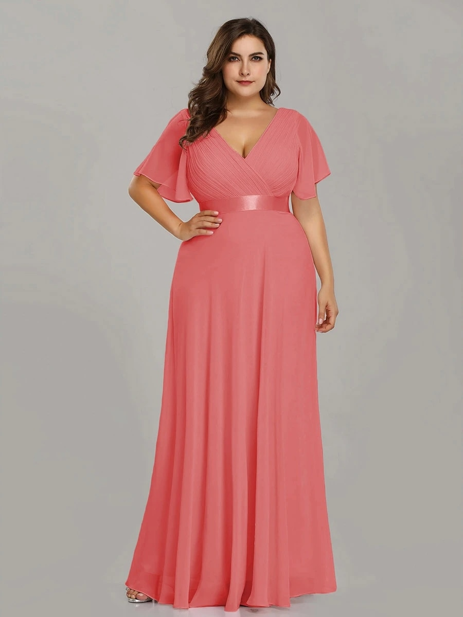 Double V-Neck Ruffles Padded Plus Size Wholesale Evening Dresses
