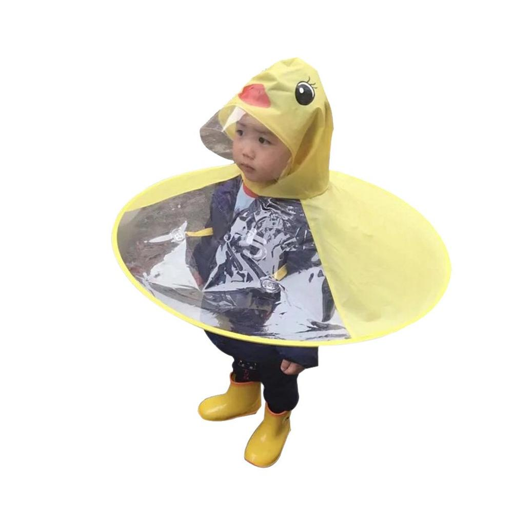 S/M/L/XL adultos niño pato amarillo UFO impermeable paraguas manos libre Poncho