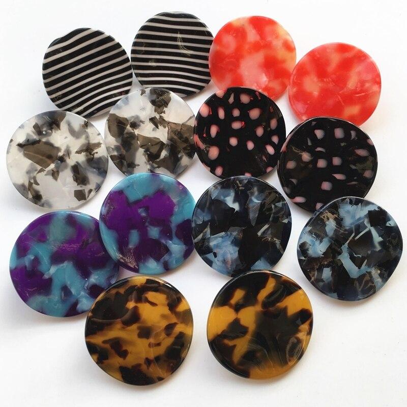 UJBOX 7 Colors Japanese Korean Wavy Acetate Earrings Stud Women Polka Dot Striped Colored Leopard Acetic Acid Earrings