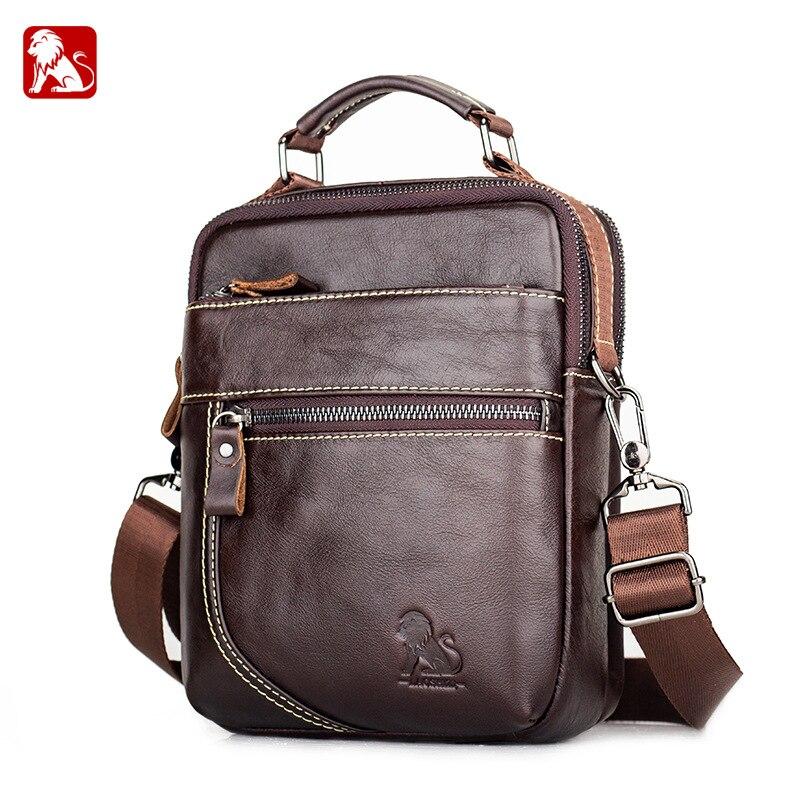 Quality Genuine Leather Male Casual Handbag Design Shoulder Messenger Bag Cowhide Fashion Crossbody Mochila Satchel