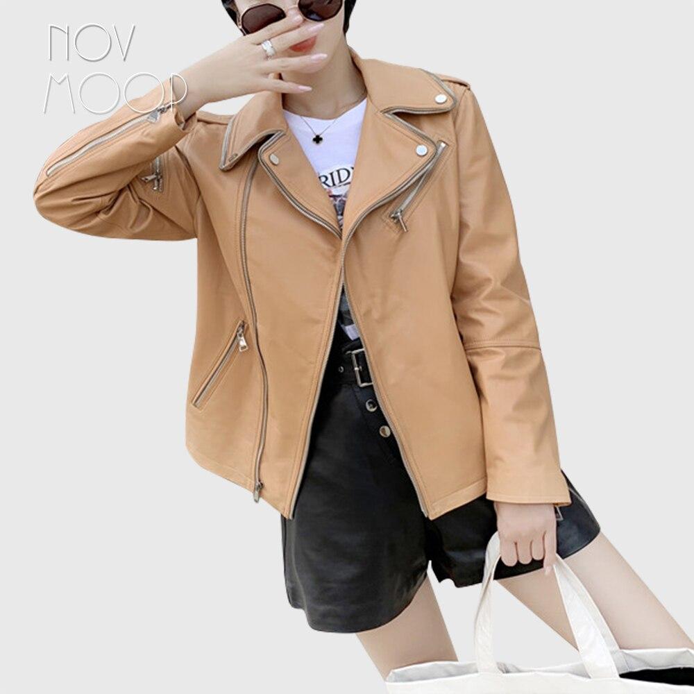 Novmoop-جاكيت نسائي من جلد الغنم الأصلي ، معطف نسائي بسحاب ، موضة خريف 2019 ، LT2908