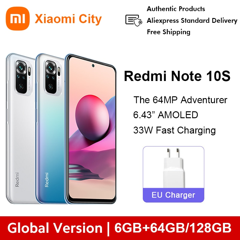 Xiaomi Redmi Note 10S 6gb 64gb 6gb 128gb Xiaomi Smartphone Big display Global Version Redmi Note 10s