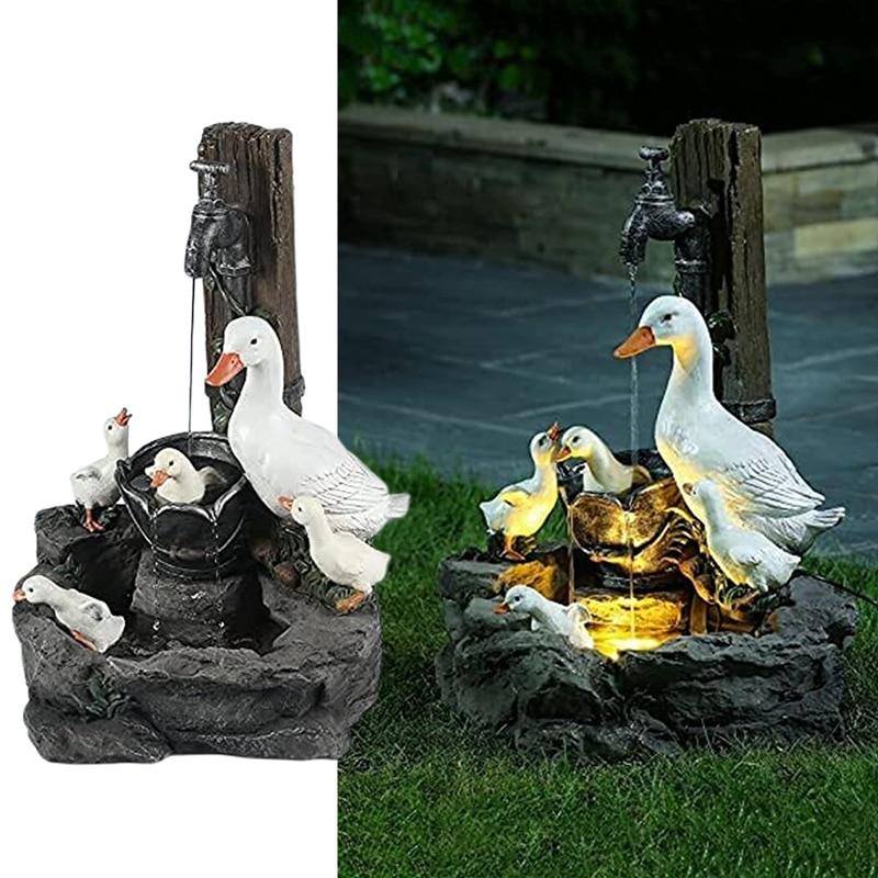 Садовые статуэтки на солнечной батарее со светодиодный Ной подсветкой, креативные Статуэтки из смолы в виде белки, утки, фонтана, декор для ...