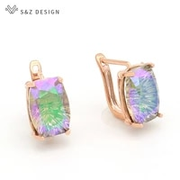 sz design new fashion unique square crystal dangle earrings 585 rose gold for women wedding jewelry girl party accessories