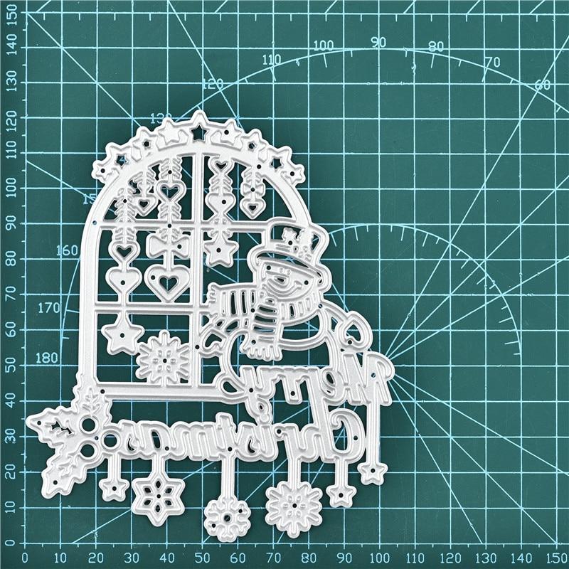 Eastshape Снеговик сидеть на окне металлические режущие штампы тиснение трафарет скрапбук Рождество Рамка шаблон Пробивной бумаги ремесла Новый