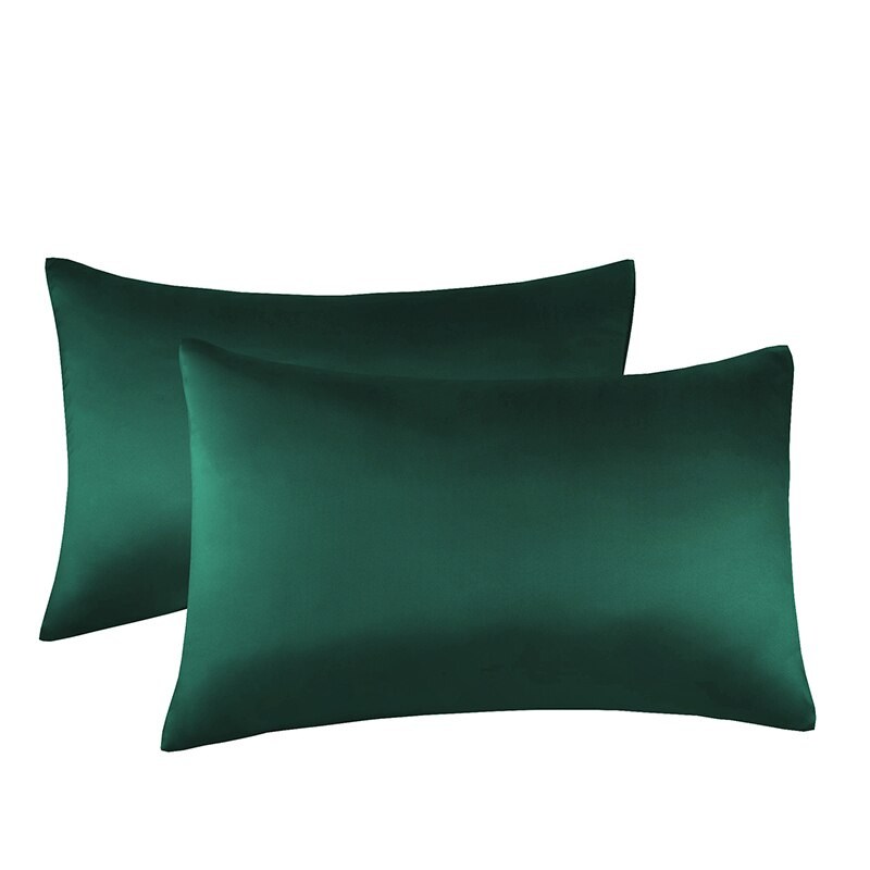 2 قطعة متعددة الحجم مضاهاة كيس مخدة ساتان حرير بلون مريح وسادة غطاء للمنزل السرير رمي فندق غطاء الوسادة