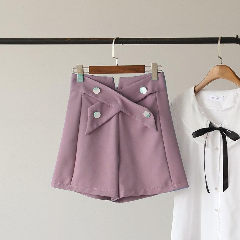 Pantalones cortos cruzados de cintura alta para mujer, pantalones cortos informales de verano de Color sólido para mujer