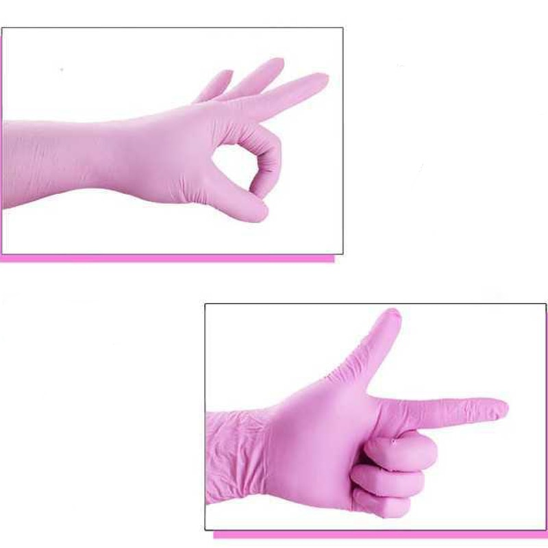 Disposable dingqing pink rubber latex gloves dental beauty catering oil-proof experimental food gloves acid and alkali resistant enlarge