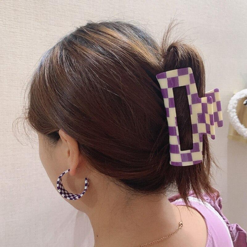 Large Acetate Hair Claw Clips Checkered Grid Plaid Mosaic Clamps Geometric Shark Clip Big Grab Ins Women Accessories