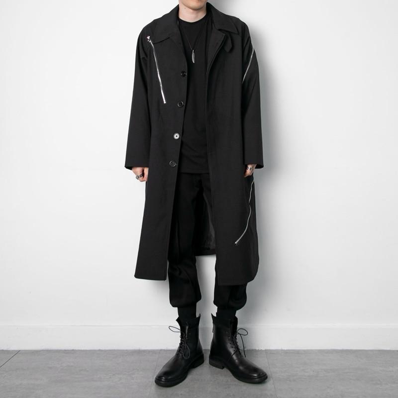 أسود داكن ياماموتو ياماموتو نمط موضة زيبر الديكور طويل سترة واقية معطف فضفاض معطف الرجال