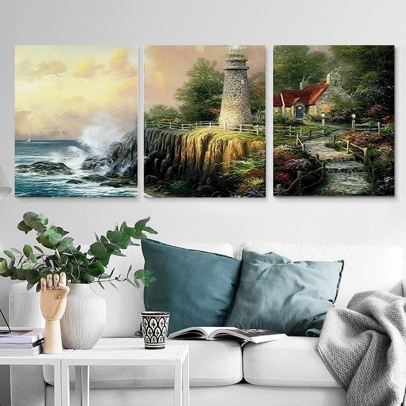 Novo arrivel 3 pçs pintura a óleo seaside paisagem imagens pintura por números tríptico arte da parede pintura da lona presente para decoração casa