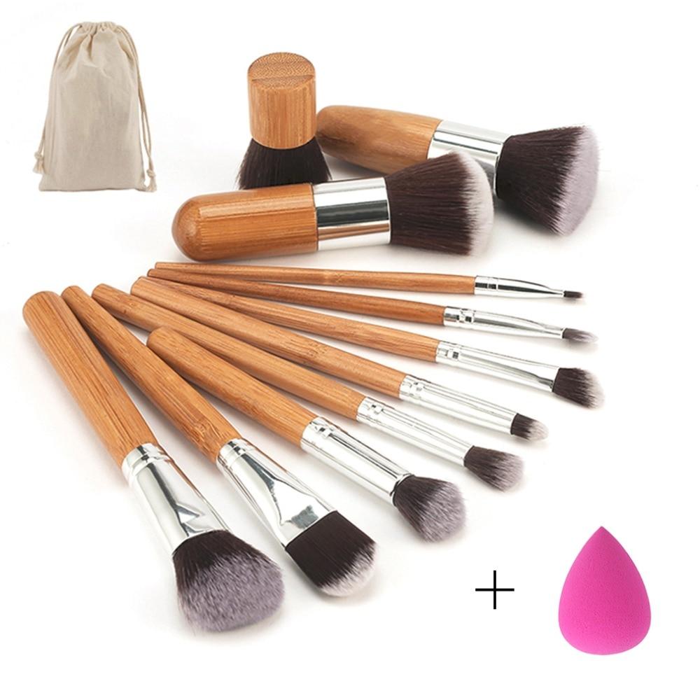 Beauty Makeup Set Professional Bamboo Handle Makeup Brushes Eyeshadow Concealer Blush Foundation Brush + Blending Sponges Puff