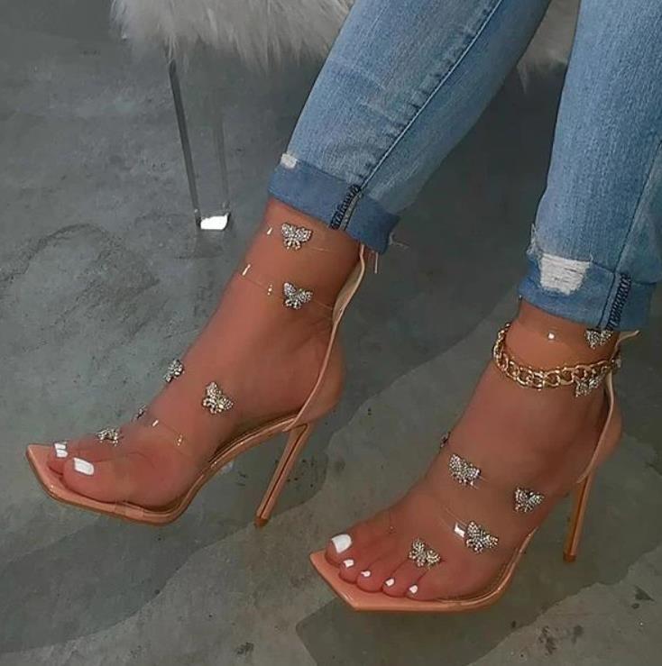 السيدات ساحة تو صنادل عالية الكعب واضح البرسبيكس فراشة نمط خنجر كعب Zapatos Mujer