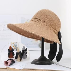 Summer foldable bowknot empty top sun hat female vacation beach hat sunscreen big eaves sun hat folding straw hat