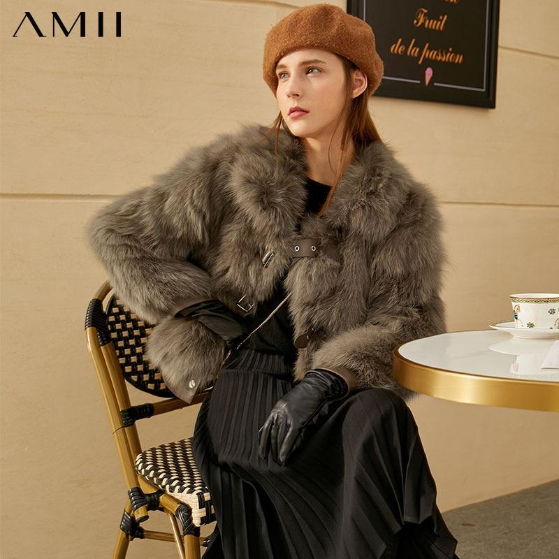 Amii-معطف شتوي فاخر من فرو الثعلب ، جاكيت نسائي سميك 100% ، صوف وثعلب غير رسمي ، طية صدر السترة ، 12070613