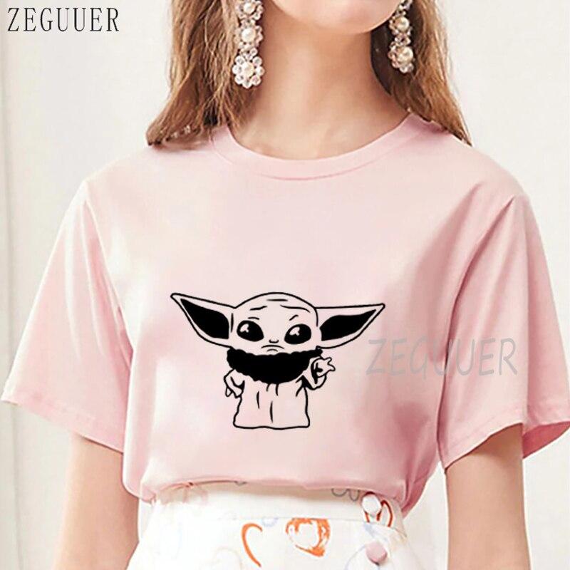 Camiseta negra de Yoda para bebé, camiseta Harajuku rosa y blanca con gráficos Kawaii, camiseta Harajuku gótica coreana 2020 para mujer