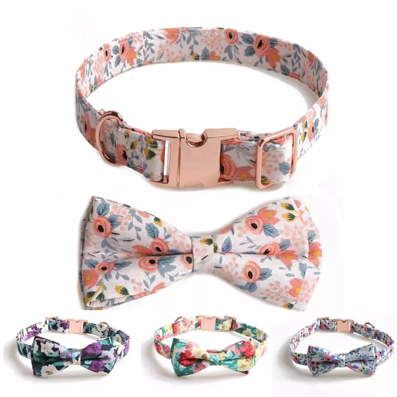 Dog Cat Collar Bow Tie Personalized Flowers Pet Collar Full Metal Buckle Leash Lead for Small Medium Large Dogs Cats Accessories