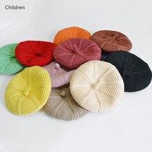 Модная Милая Детская шапка-берет для малышей, теплая зимняя шапка, Новое поступление 2019, детские шапки для малышей, однотонный вязаный головной убор для мальчиков и девочек