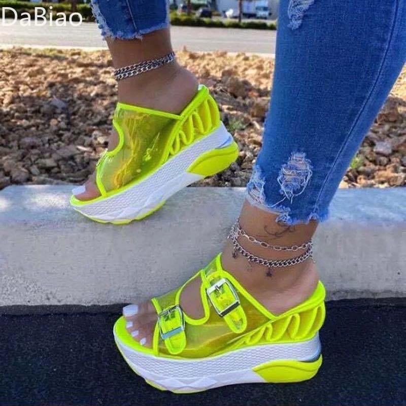 2021Summer Women Transparent Sandals Ladies Platform Wedges Sandals Fashion Casual Double Buckle Straps Outside Shoes