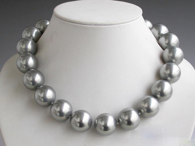Natural 20mm Tahití gris redondo collar de perlas Concha 18 pulgadas Estilo AAA fino Noble real Natural envío gratis
