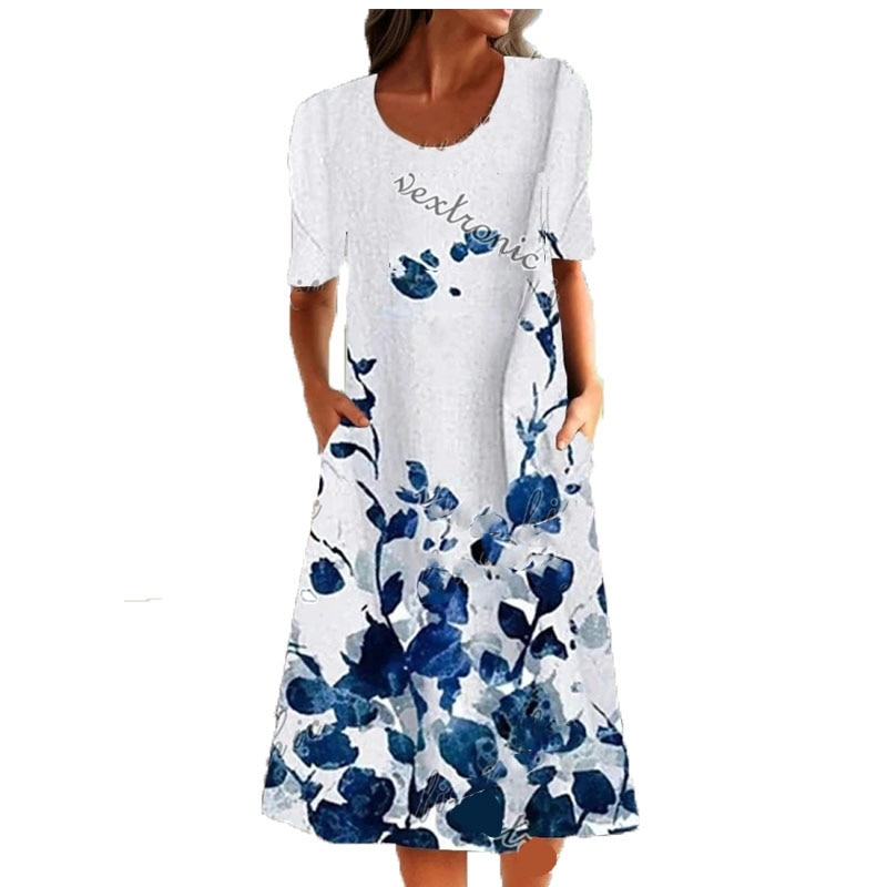 Summer Casual Loose Print One Piece Long Dress Ladies Fashion Plus Size Short Sleeved  for Women