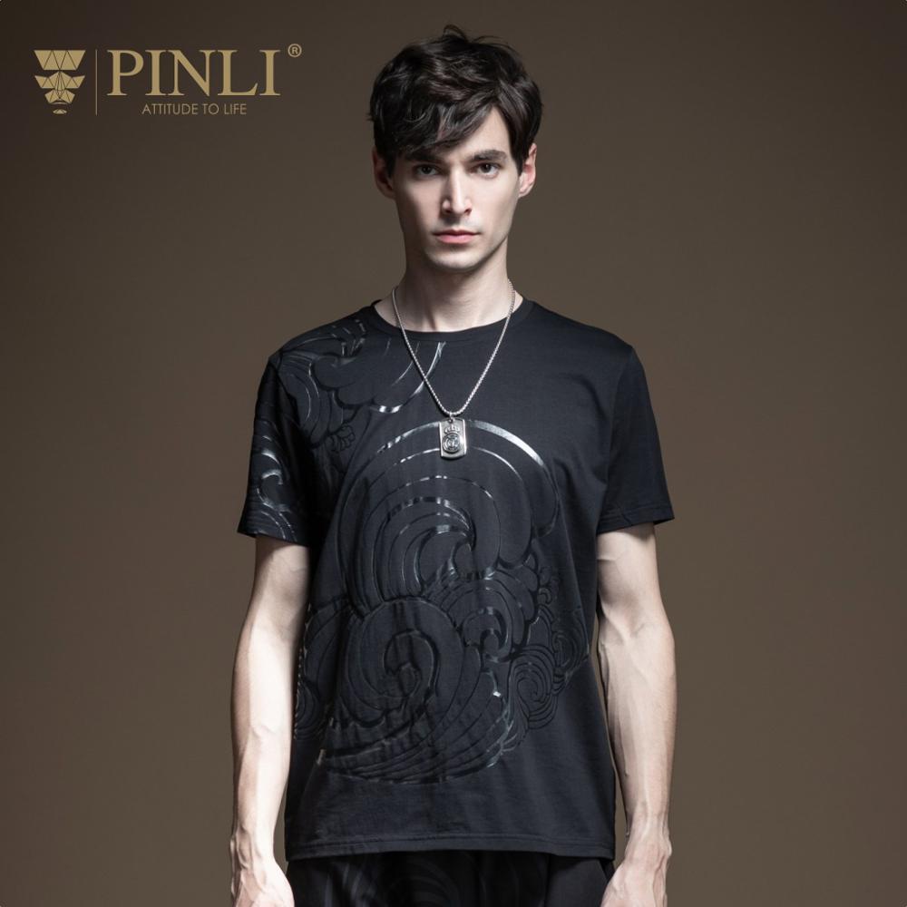 Pinli 2020 Summer New O-neck Cotton Slim Glitter Printed High Quality Cotton Casual Men Fashion Short Sleeve T-shirt B202211144