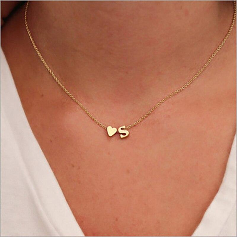 Collar con inicial de corazón pequeño para mujer y niña, Gargantilla con nombre y letras de Color dorado y plateado, colgante, regalo de joyería