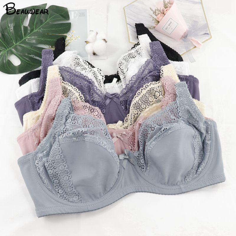 ملابس داخلية مثيرة للنساء من Beauwear حمالات صدر من الدانتيل بالزهور منظور ملابس داخلية مثيرة مقاس كبير من حمالة الصدر مقاس كبير من 36-46 D DD E DDD F