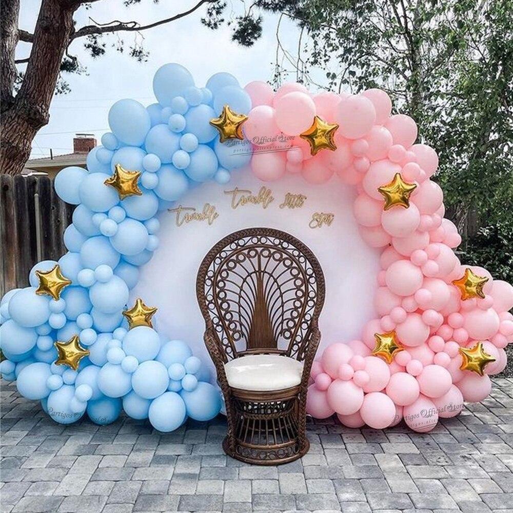 122 шт., Детские вечерние воздушные шары, комплект гирлянды, розовый, синий, Globos, АРКА, золотые звезды, воздушные шары, Детские Вечерние Декорац...