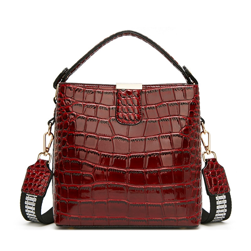 Luxury Patent Leather women handbag small Brand design crocodile grain Bucket Shoulder Bag for female Crossbody bags satchels