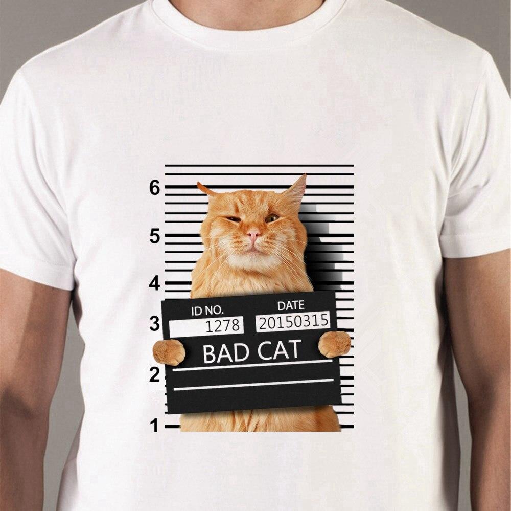 50431 # gato amante decoração gato mau na prisão kitty sob prisão criminoso camiseta superior t verão camiseta o pescoço camisa de manga curta