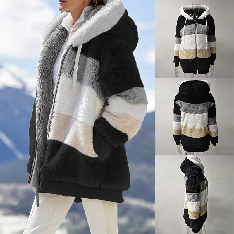 Новые стильные женские толстовки, модная зимняя теплая верхняя одежда, красочные толстовки с длинным рукавом, свободное плюшевое пальто ср...