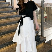 Summer Lightly Mature Salt Sweet Fried Street Half-Length Dress Suit Petite Clothing High-Looking Ge