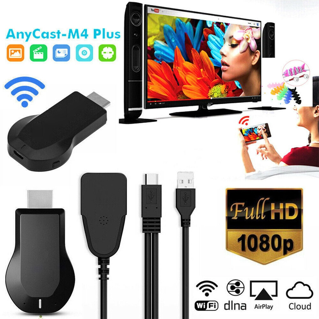 NoEnName_Null M4 PLUS 1080P Wireless HD Portable Media Player Streamer Wifi Display Dongle for Proje