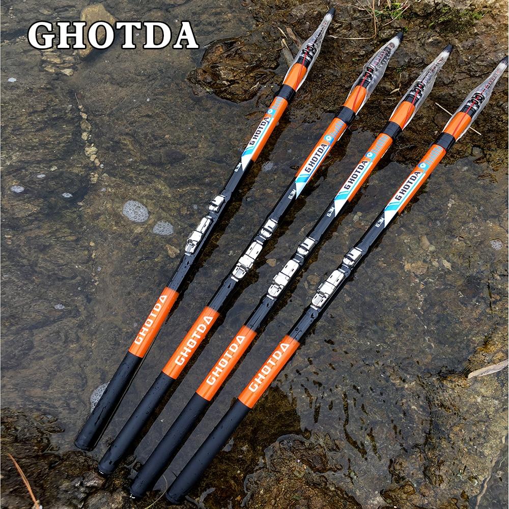 Caña de pescar de roca telescopica GHOTDA, caña de pescar de fibra de carbono 100% 2,7/3,6/4,5/5,4/6,3 M