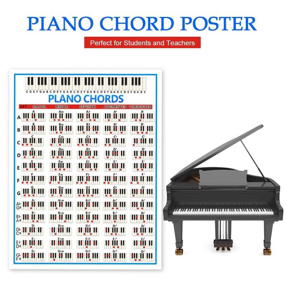 Práctica Piano pegatina 88 teclas para principiantes Piano Tabla de acordes cartel Amplia guía educativa práctica tabla de impresión para teclado