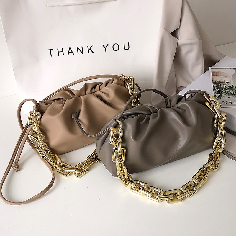Gold Chain PU Leather Cloud Bag For Women 2021 winter Armpit bag Lady Shoulder Handbags Female Travel Hand Bag