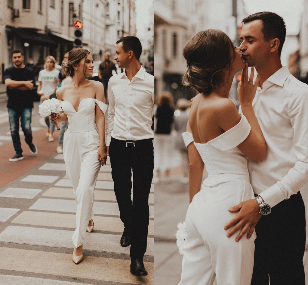 Off Shoulder Boho Stain Wedding Jumpsuit 2021 Summer Holiday Beach Countryside Bride Dress Robe De Mariee new with Pant Suit